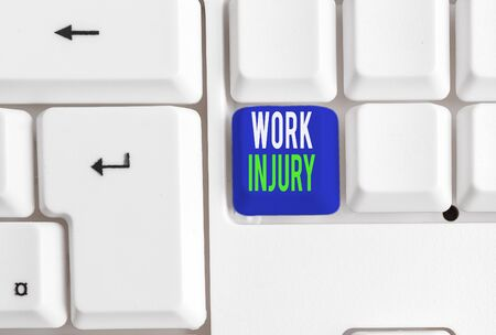 Word writing text Work Injury. Business photo showcasing Accident in job Danger Unsecure conditions Hurt Trauma White pc keyboard with empty note paper above white background key copy space
