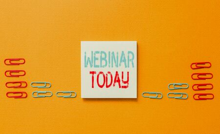 Word writing text Webinar Today. Business photo showcasing live online educational presentation on different location Colored blank sticky note clips gathered trendy cool pastel background
