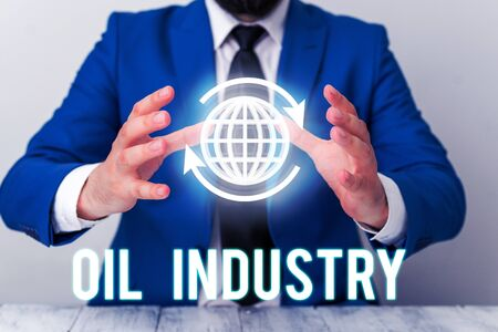 Handwriting text Oil Industry. Conceptual photo Exploration Extraction Refining Marketing petroleum products