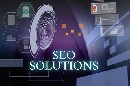 Writing note showing Seo Solutions. Business concept for Search Engine Result Page Increase Visitors by Rankings Male wear formal suit presenting presentation smart device