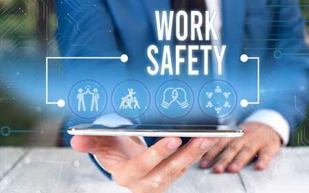 Word writing text Work Safety. Business photo showcasing Policies and control in place according to government standard Male human wear formal work suit presenting presentation using smart device