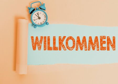 Text sign showing Willkommen. Business photo showcasing welcoming showing event or your home something to that effect