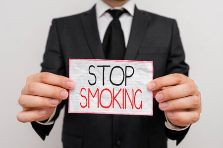 Handwriting text Stop Smoking. Conceptual photo Discontinuing or stopping the use of tobacco addiction