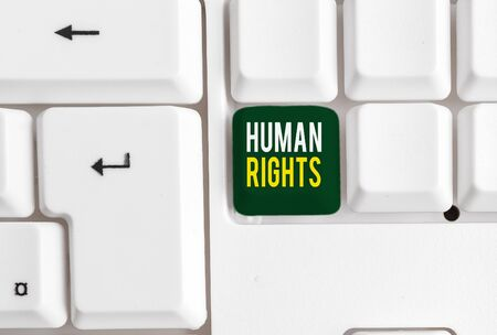 Conceptual hand writing showing Huanalysis Rights. Concept meaning Moral Principles Standards Norms of a showing protected by Law White pc keyboard with note paper above the white background Stok Fotoğraf