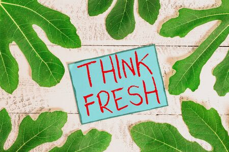 Writing note showing Think Fresh. Business concept for Thinking on natural ingredients Positive good environment Stock fotó
