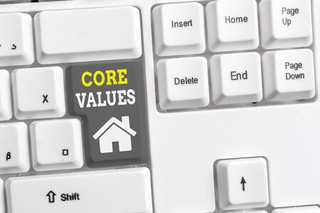 Text sign showing Core Values. Business photo showcasing belief demonstrating or organization views as being importance White pc keyboard with empty note paper above white background key copy space
