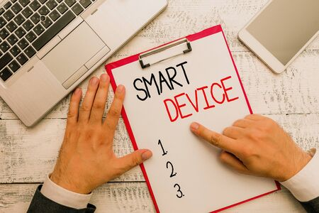 Writing note showing Smart Device. Business concept for Electronic gadget that able to connect share interact with user