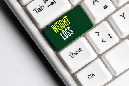 Handwriting text writing Weight Loss. Conceptual photo Decrease in Body Fluid Muscle Mass Reduce Fat Dispose Tissue White pc keyboard with empty note paper above white background key copy space
