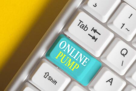 Word writing text Online Pump. Business photo showcasing device which moves liquid from lower level to higher one White pc keyboard with empty note paper above white background key copy space