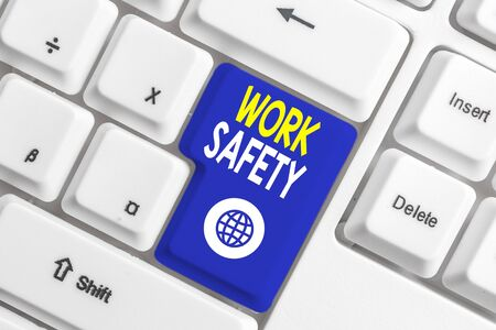 Writing note showing Work Safety. Business concept for Policies and control in place according to government standard White pc keyboard with note paper above the white background Zdjęcie Seryjne