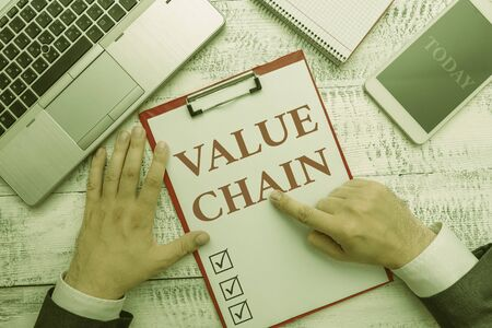 Handwriting text Value Chain. Conceptual photo Business analysisufacturing process Industry development analysis