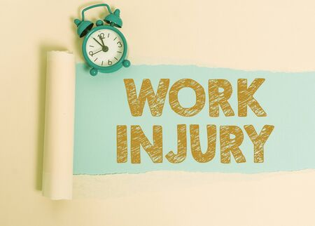Text sign showing Work Injury. Business photo showcasing Accident in job Danger Unsecure conditions Hurt Trauma