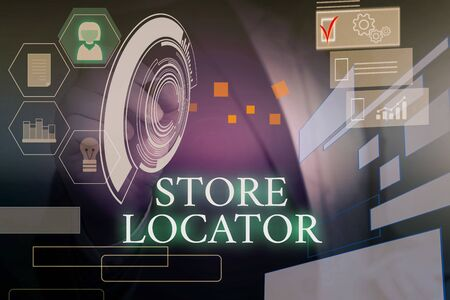 Writing note showing Store Locator. Business concept for to know the address contact number and operating hours Male wear formal suit presenting presentation smart device