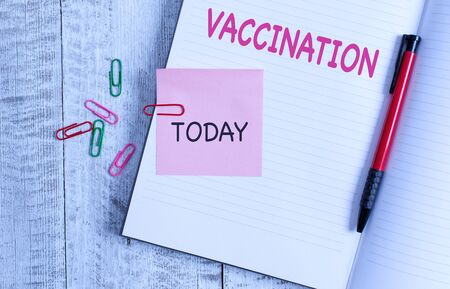 Handwriting text Vaccination. Conceptual photo Treatment which makes the body stronger against infection Thick pages notebook stationary placed above classic look wooden backdrop
