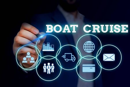 Handwriting text writing Boat Cruise. Conceptual photo sail about in area without precise destination with large ship Male human wear formal work suit presenting presentation using smart device Stock Photo