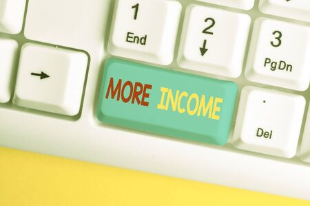 Word writing text More Income. Business photo showcasing Additional money receives for an exchange of good or services White pc keyboard with empty note paper above white background key copy space Stock fotó