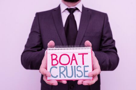 Conceptual hand writing showing Boat Cruise. Concept meaning sail about in area without precise destination with large ship Stock Photo