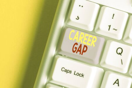 Word writing text Career Gap. Business photo showcasing A scene where in you stop working by your profession for a while White pc keyboard with empty note paper above white background key copy space