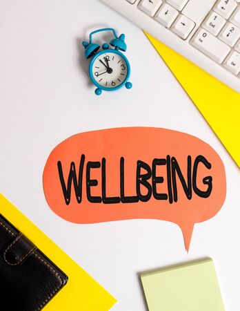 Word writing text Wellbeing. Business photo showcasing A good or satisfactory condition of existence including health Flat lay with copy space on bubble paper clock and paper clips Zdjęcie Seryjne