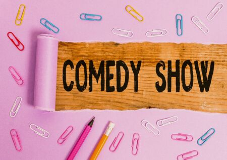 Writing note showing Comedy Show. Business concept for Funny program Humorous Amusing medium of Entertainment 스톡 콘텐츠