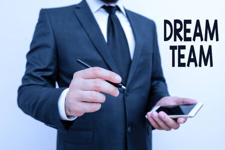 Word writing text Dream Team. Business photo showcasing Prefered unit or group that make the best out of a demonstrating Stok Fotoğraf