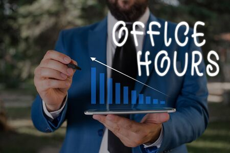 Word writing text Office Hours. Business photo showcasing The hours which business is normally conducted Working time Male human wear formal work suit presenting presentation using smart device