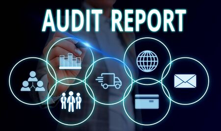 Handwriting text Audit Report. Conceptual photo An appraisal of complete financial status of a business Assets Woman wear formal work suit presenting presentation using smart device