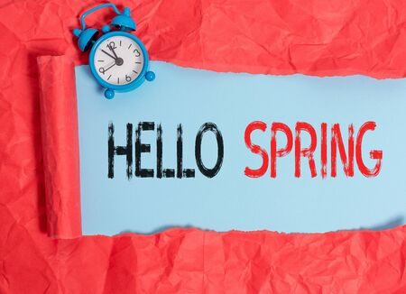 Word writing text Hello Spring. Business photo showcasing Welcoming the season after the winter Blossoming of flowers