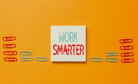 Word writing text Work Smarter. Business photo showcasing Efficiency Be clever in your job Make successful strategies Colored blank sticky note clips gathered trendy cool pastel background