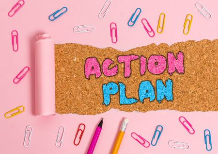 Writing note showing Action Plan. Business concept for list of things or schedule to be made thia current year