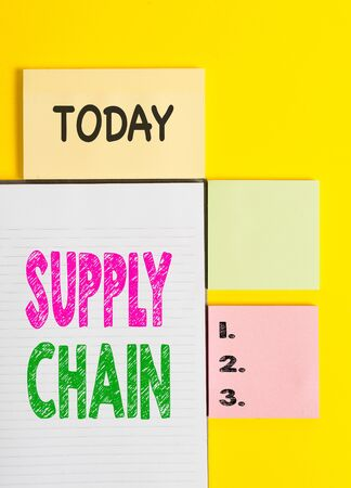 Word writing text Supply Chain. Business photo showcasing System of organization and processes from supplier to consumer Colored empty papers with copy space on the yellow background table