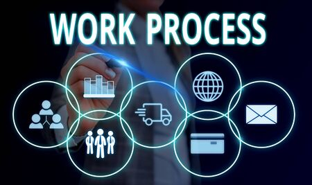 Handwriting text Work Process. Conceptual photo Standard procedures how to handle a particular job rules system Woman wear formal work suit presenting presentation using smart device Stok Fotoğraf