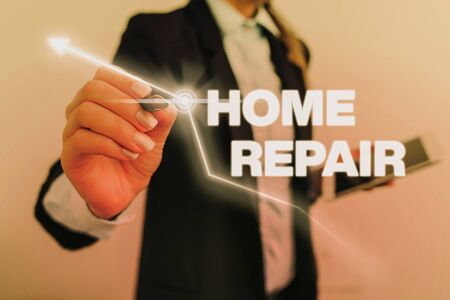 Text sign showing Home Repair. Business photo text maintenance or improving your own house by yourself using tools