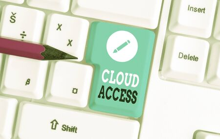Word writing text Cloud Access. Business photo showcasing Software tool between the organization and the provider White pc keyboard with empty note paper above white background key copy space