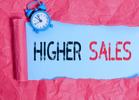 Word writing text Higher Sales. Business photo showcasing The average sold products and services of a company has grown Фото со стока