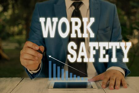 Handwriting text writing Work Safety. Conceptual photo Policies and control in place according to government standard Male human wear formal work suit presenting presentation using smart device
