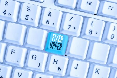 Writing note showing Fixer Upper. Business concept for house in need of repairs used chiefly connection with purchase White pc keyboard with note paper above the white background