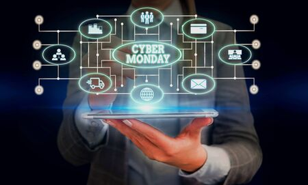 Conceptual hand writing showing Cyber Monday. Concept meaning Marketing term for Monday after thanksgiving holiday in the US Woman wear work suit presenting presentation smart device Stock Photo