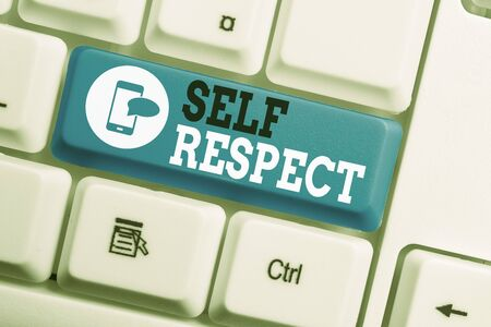 Conceptual hand writing showing Self Respect. Concept meaning Pride and confidence in oneself Stand up for yourself Keyboard with note paper on white background key copy space