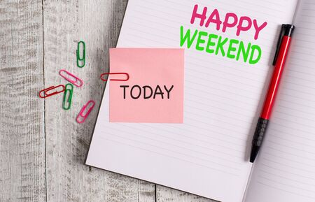 Handwriting text Happy Weekend. Conceptual photo Cheerful rest day Time of no office work Spending holidays Thick pages notebook stationary placed above classic look wooden backdrop