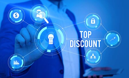 Word writing text Top Discount. Business photo showcasing Best Price Guaranteed Hot Items Crazy Sale Promotions Male human wear formal work suit presenting presentation using smart device Stock fotó