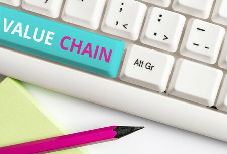Handwriting text Value Chain. Conceptual photo Business analysisufacturing process Industry development analysis White pc keyboard with empty note paper above white background key copy space Фото со стока