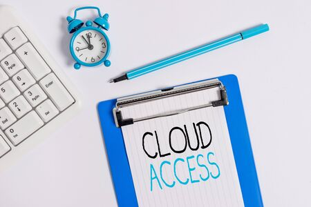 Conceptual hand writing showing Cloud Access. Concept meaning Software tool between the organization and the provider Flat lay above table with clock pc keyboard and note paper Фото со стока
