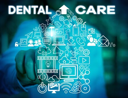 Writing note showing Dental Care. Business concept for maintenance of healthy teeth or to keep it clean for future Woman wear formal work suit presenting presentation using smart device