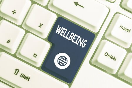 Writing note showing Wellbeing. Business concept for A good or satisfactory condition of existence including health White pc keyboard with note paper above the white background