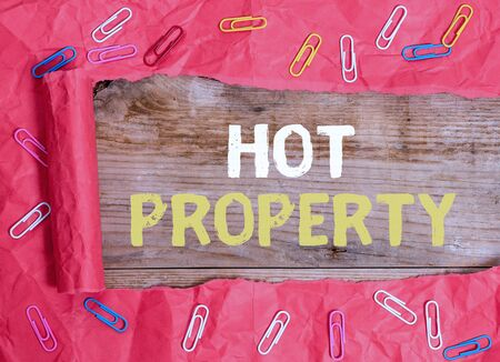 Word writing text Hot Property. Business photo showcasing Something which is sought after or is Heavily Deanalysisded