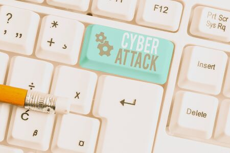 Writing note showing Cyber Attack. Business concept for An attempt by hackers to Damage Destroy a Computer System White pc keyboard with note paper above the white background