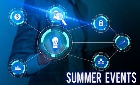 Conceptual hand writing showing Summer Events. Concept meaning Celebration Events that takes place during summertime Woman wear work suit presenting presentation smart device Stock Photo