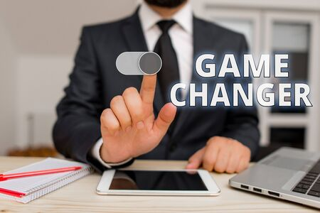 Writing note showing Game Changer. Business concept for Sports Data Scorekeeper Gamestreams Live Scores Team Admins