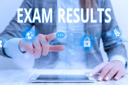 Writing note showing Exam Results. Business concept for An outcome of a formal test that shows knowledge or ability Female human wear formal work suit presenting smart device